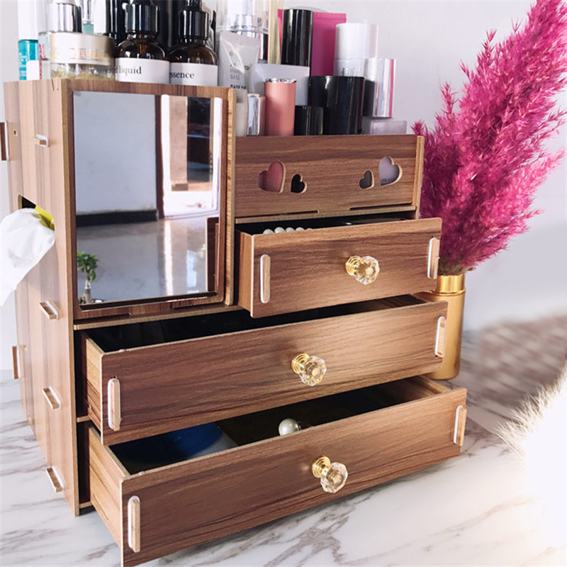 8 Colors Makeup Organizer Wooden Cosmetic Storage Box With Mirror Drawer For Beauty Girls Woman Home Storage