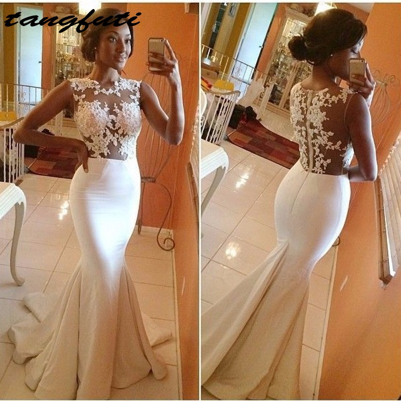 Mermaid   Evening     Dresses   2017 Hot Sale Sexy White Lace Appliques Ruffles Long   Evening   Party Prom Gown For Wedding Plus Size