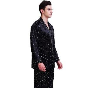 Image 5 - Мужская шелковая атласная пижама, пижамный комплект, Пижама, комплект для отдыха, США, S,M,L,XL,XXL,3XL , 4XL