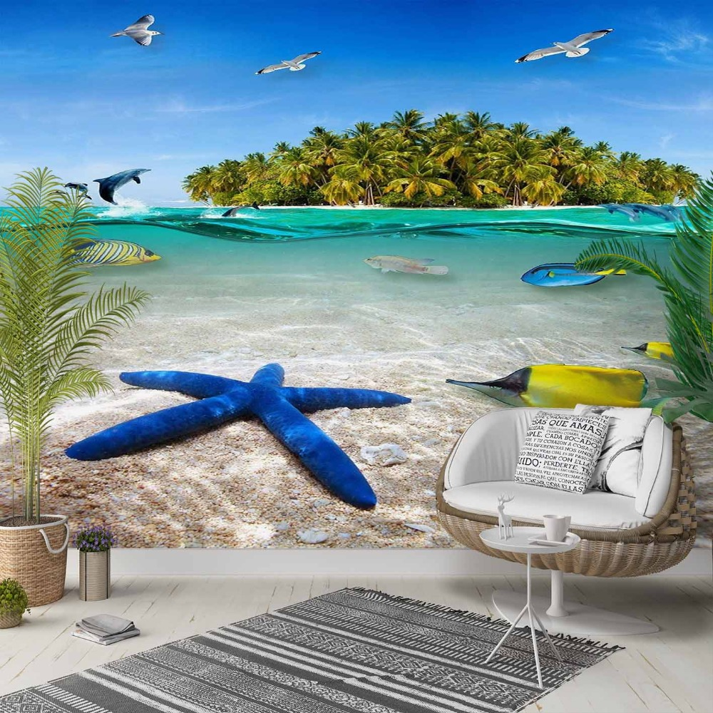 Else Gren Tree Island Blue Sea Star Fishes 3d Photo Cleanable Fabric Mural Home Decor Living Room Bedroom Background Wallpaper