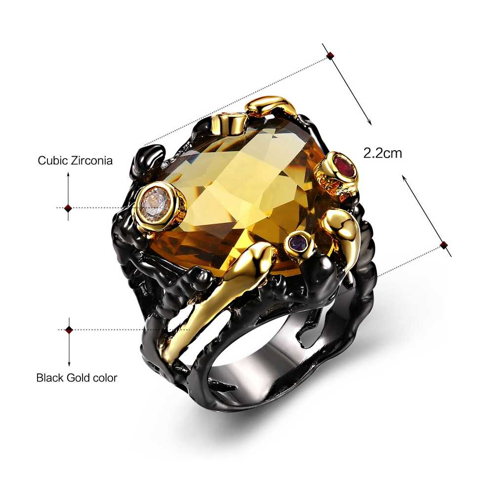 DC1989แบรนด์ใหม่ที่ไม่ซ้ำกันแหวนวินเทจสำหรับผู้หญิงสีดำทอง-สีบิ๊กสร้างCubic Z IrconiaนำฟรีModa Anillosขนาด6 7 8 9