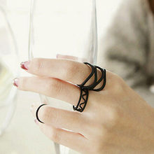 Korean Style Fashion Black Paint Hollow Ring Three Ring High Quality Finger Joints Three Piece Ring Set(China)