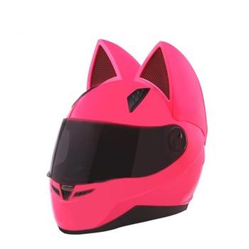 Różowy kot kask kask motocyklowy NITRINOS kobiety osobowość pełna twarz bezpieczeństwa kask motocrossowy kask Capacetes Dot certyfikat tanie i dobre opinie Wstrząsoodporny Gąbka Unisex Full Face 1 6kg
