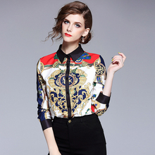 Spring Womens Tops and Blouses 2018 New Trendy Summer Fall Long Sleeved Vintage Print Casual Formal Blouse Shirt Female Blusas