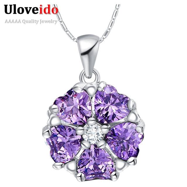 Uloveido Flower Pendants Necklace For Women Wedding Jewelry Women's Jewelry Blue Purple Pendulum Collares Charms 49% Off N1236