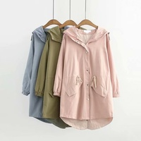 Trench Coat Cotton Plus Size 2019 Women Casual Pink Solid Green Blue Eleastic Waist Hooded Trench Fashion Outwear Coats