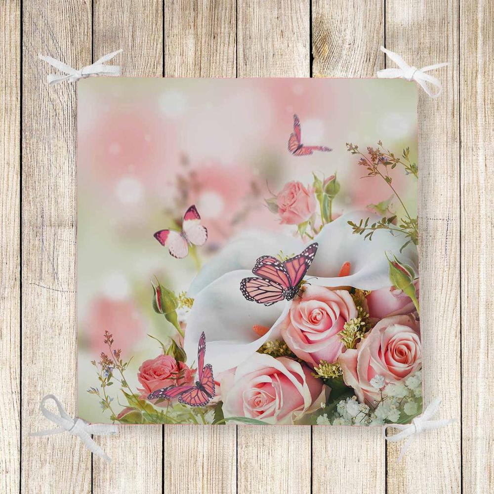 Else Pink Roses Flowers Butterfly 3d Print Chair Pad Seat Cushion Soft Memory Foam Full Lenght Ties Non Slip Washable Zipper