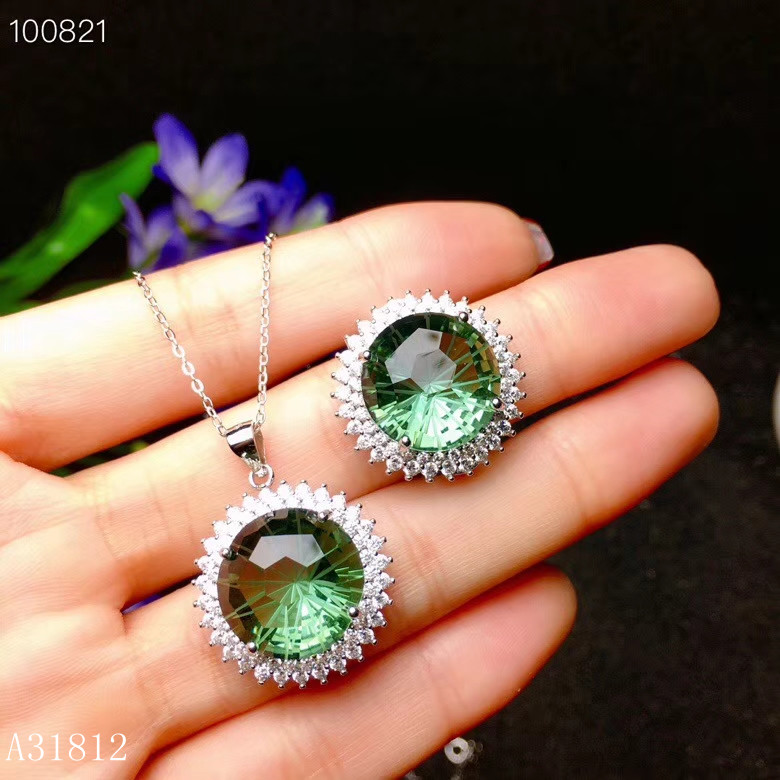 KJJEAXCMY Fine jewelry 925 Pure Silver Embedded Natural Green Crystal Beryl Jewelry Necklace Ring Support Detection