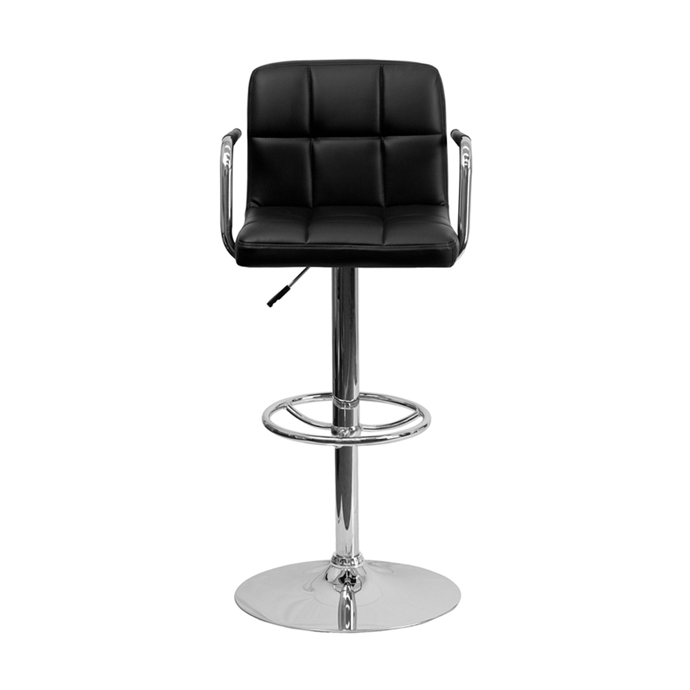 Flash Furniture Contemporary Black Quilted Vinyl Adjustable Height Bar Stool With Arms And Chrome Base