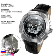 PM1208 Leather strap Wrist Nuclear Detect Gamma Master II, Radiation watch Calibrated by Polimaster Ltd.(Belarus)