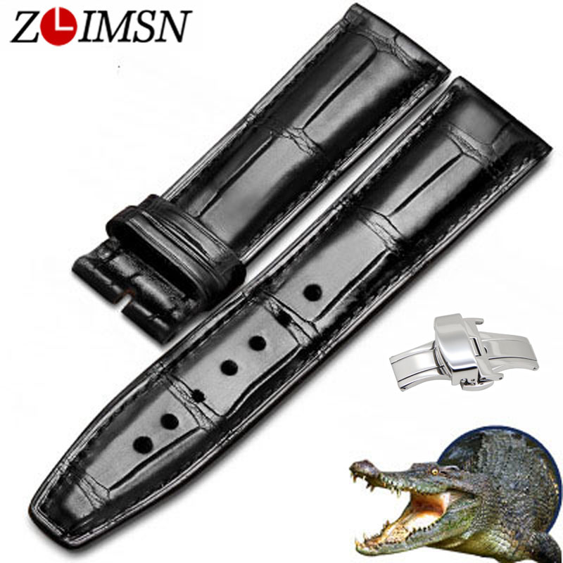 ZLIMSN Alligator Leather Watch Bands Strap Watches Accessories 20 22mm Black Brown Genuine Leather Watchbands Butterfly Buckle zlimsn alligator leather watch bands strap watches accessories 20 22mm black brown genuine leather watchbands butterfly buckle