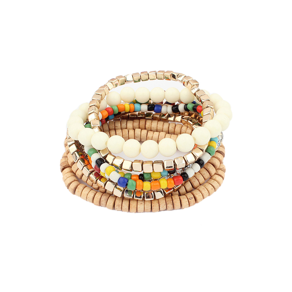 Lureme Bohemian Beads Cube Multi Strand Stretch Stackable Bangle Bracelet Set for Women Girl Gift (bl003172)