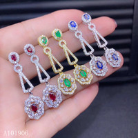 KJJEAXCMY Fine Jewelry 925 sterling silver inlaid natural ruby sapphire emerald female earrings support detection of new luxury