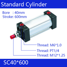 цена на SC40*600 Free shipping Standard air cylinders valve 40mm bore 600mm stroke SC40-600 single rod double acting pneumatic cylinder