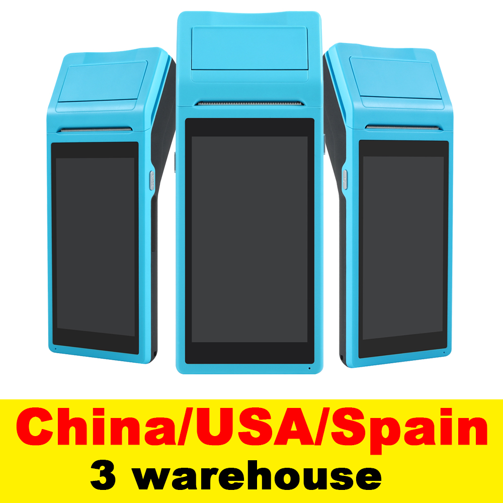 V1 POS Terminal PDA With Wireless Bluetooth& Wifi Android System with  Thermal Printer Built-in and Barcode Scanner