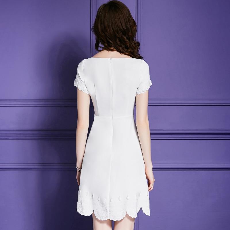 Robe Femmes Nouvelle Dress Mode O Dresses De Women Blanc A line cou a Appliques ligne Robes Fleur trEqOt