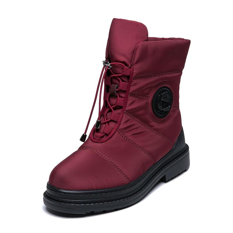 AIMEIGAO High Quality Warm Fur Snow Boots Women Plush Insole Waterproof Boots Platform Heels Red Black Winter Women Boots
