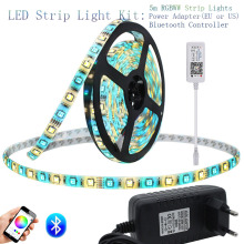 цена RGB Led Strip Set + Bluetooth Controller + 12V 3A Power Adapter 5m DC12V RGBW Led Strip Light RGBWW Flexible Led Ribbon Tape онлайн в 2017 году