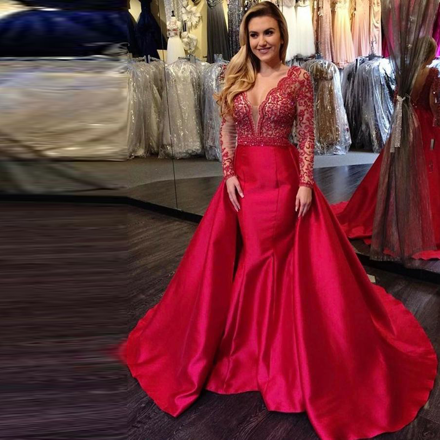 V-neck Long Sleeves Mermaid Long Prom Dresses Red Long Sleeve Beading Evening Dresses With Skirt Red Satin Ball Gowns