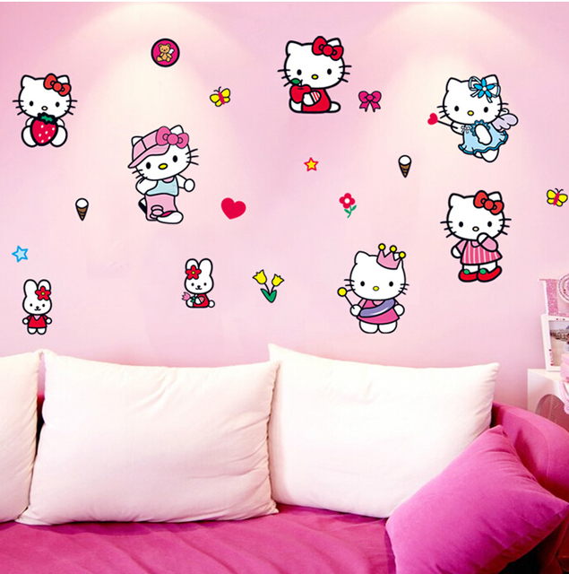 Cartoon Hello Kitty KT Cat Girl Gift Wall Sticker Stickers Home Decor Wall  Decal For Kids