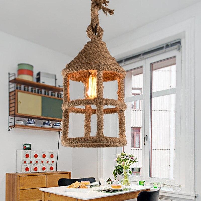 все цены на American Country Retro Creative Hemp Rope Pendant Light Restaurant Cafe Bedroom Bathroom Decoration Lamp Free Shipping