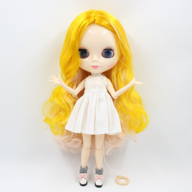 TBL Neo Blythe Doll Yellow Light Pink Hair Jointed Body