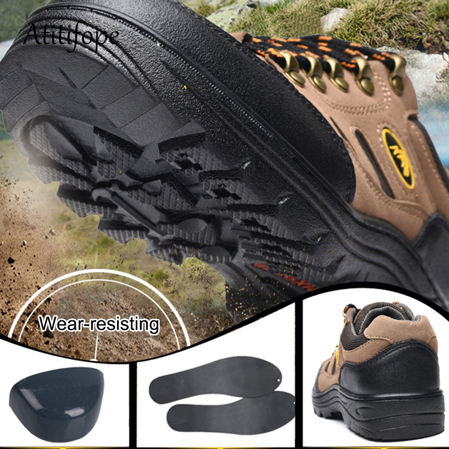 De Trabalho Lado punção Beige Anti Segurança grey Sapatos Fora Anti Fazenda Viajar slip Dos Sapatas Homens Anti Do esmagamento Caminhadas x1CEwpXq
