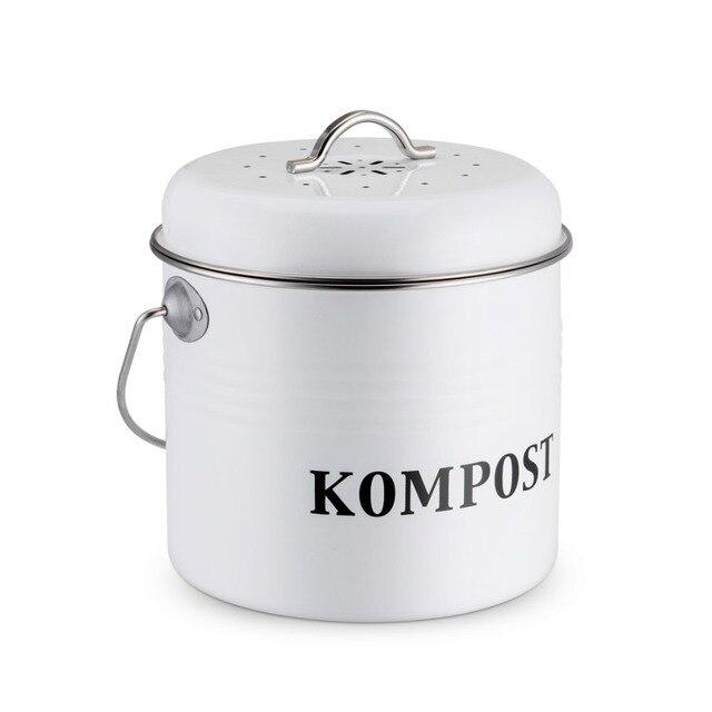 5L Kitchen Compost Bin White color Trash Can Charcoal Filter Bucket Trash Bin