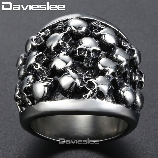 Davieslee Men's Ring Skull Punk 316L Stainless Steel Ring Party Jewelry for Men DLHR31