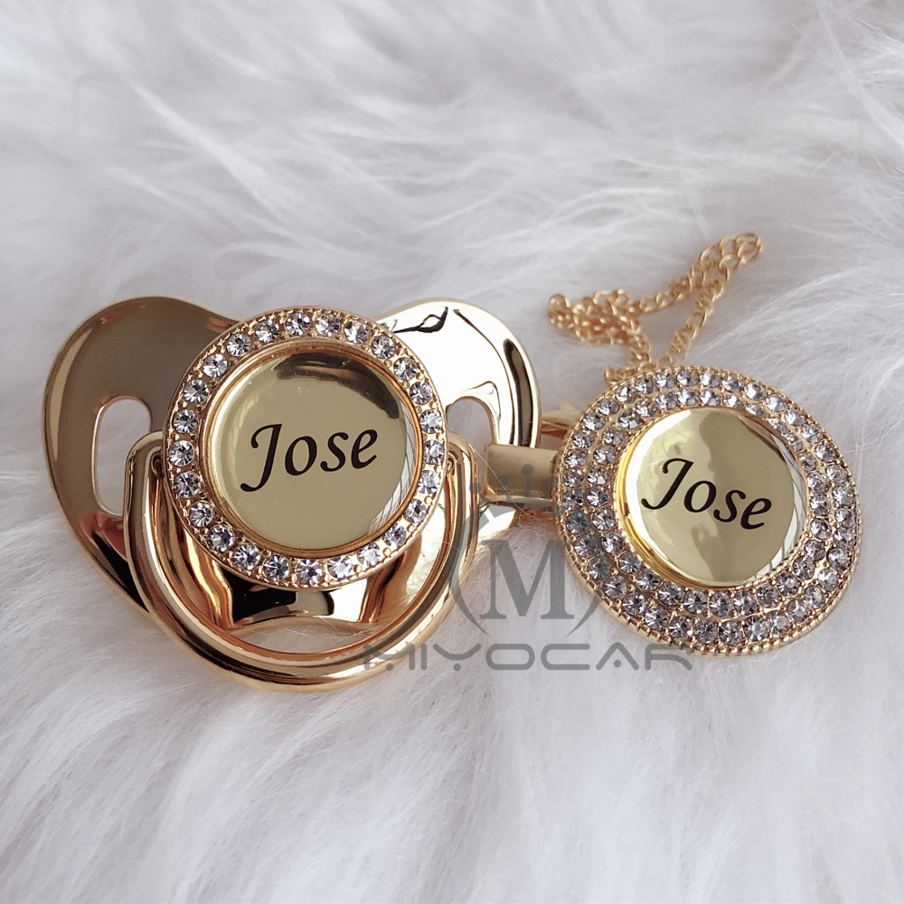 MIYOCAR Personalized Any Name Can Make Gold Bling Pacifier And Pacifier Clip BPA Free Dummy Bling Unique Design P8