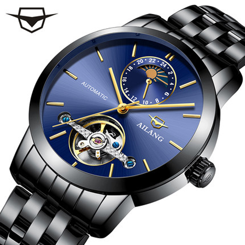AILANG watches, automatic Tourbillon machines, men's watches, sapphire large dial, waterproof black stainless steel band, watch automatic spanish snacks automatic latin fruit machines