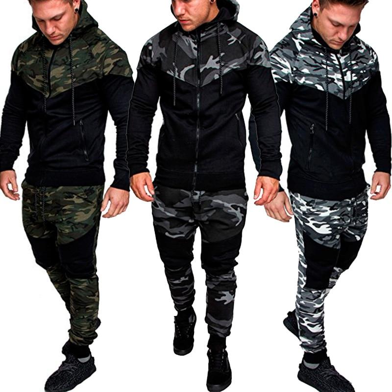 PADEGAO Men's Hoodie Set Long Sleeve Camouflage Hoodies And Pants Set Casual Hiphop Streetwear Male Tracksuit Camo Hoodies Set