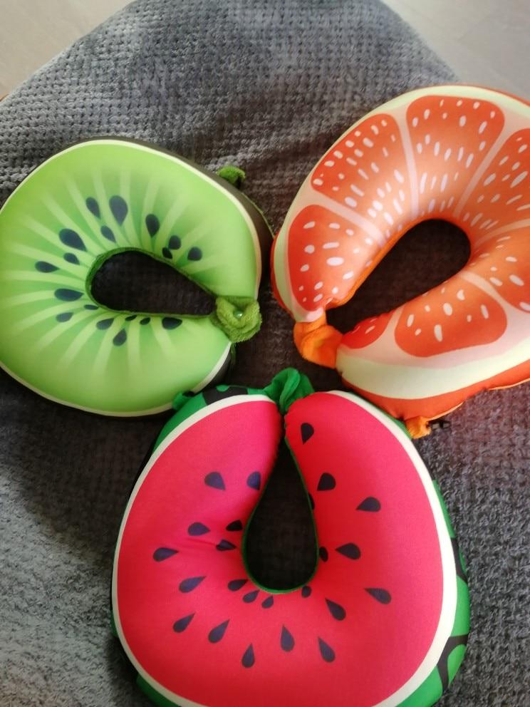 Fruit U Shaped Travel Pillow Nanoparticles Neck Pillow Watermelon Lemon Kiwi Orange Car Pillows Soft Cushion Home Textile
