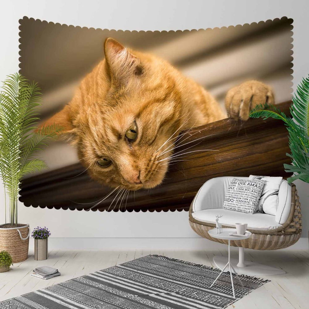 Else Yellow Funny Cats Brown Table Animals 3D Print Decorative Hippi Bohemian Wall Hanging Landscape Tapestry Wall Art