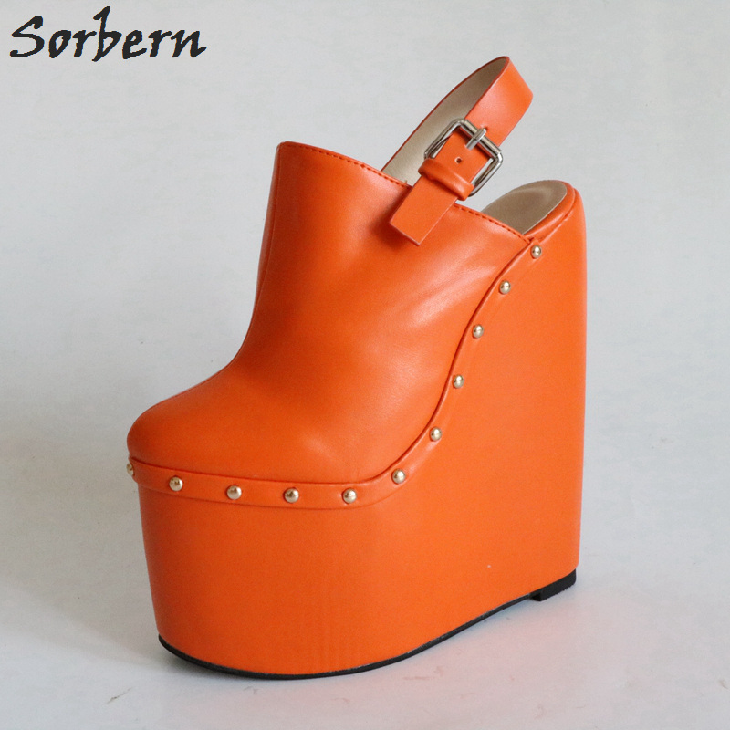 c69873c8dd5a3 Sorbern Orange Pointed Toe Slingback Pumps Women Custom Platform Heels Slip  On Wedges Female Heels Mules