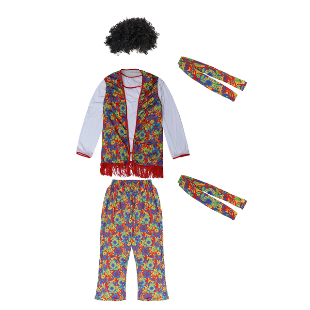 Unisex Retro Hippie Men Disco Costume Set With Wig For Halloween Carnival Costume Party Nightclub Stage Performance Size M In Party Diy Decorations