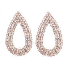 lureme Women's Fashion Luxury Wedding Jewelry Gold/Silver Plated Teardrop Pave Crystal Earring (er005268)