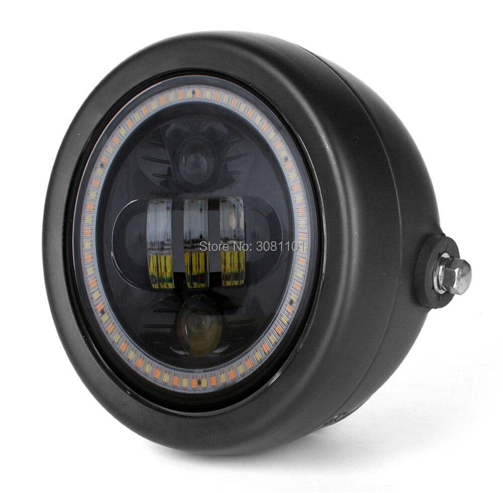 """""""5.75 5-3/4"""""""" бело-Янтарь Halo кольца фары с Кронштейн светильника корпус для мотоциклов/метрических велосипеды/крейсеров/вертолеты"""""""