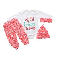 Christmas Clothes Newborn Baby Boys Girls Tops Romper Pants Hat 3PCS Outfits Set High Quality