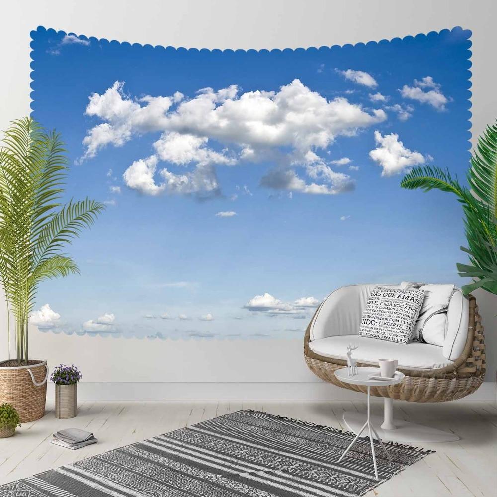Autre bleu ciel blanc nuages Nature 3D impression décorative Hippi bohème tenture murale paysage tapisserie mur Art