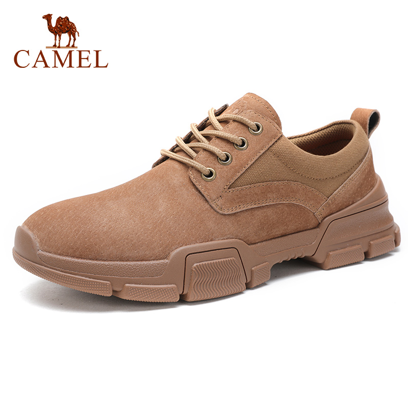 CAMEL New Men Shoes Youth Fashion Casual Non slip Outdoor Genuine Leather Lacing Retro England Footwear