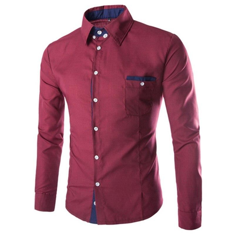 2018 Autumn Spring Men Shirt Long Sleeve Fashion Dress Shirt Formal Business Work Fitness Casual Top Social Camisa Masculina New