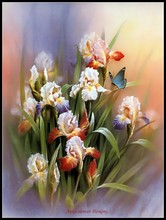 Blue Butterfly and Iris   Counted Cross Stitch Kits   DMC DIY Handmade Needlework for Embroidery 14 ct Cross Stitch Sets