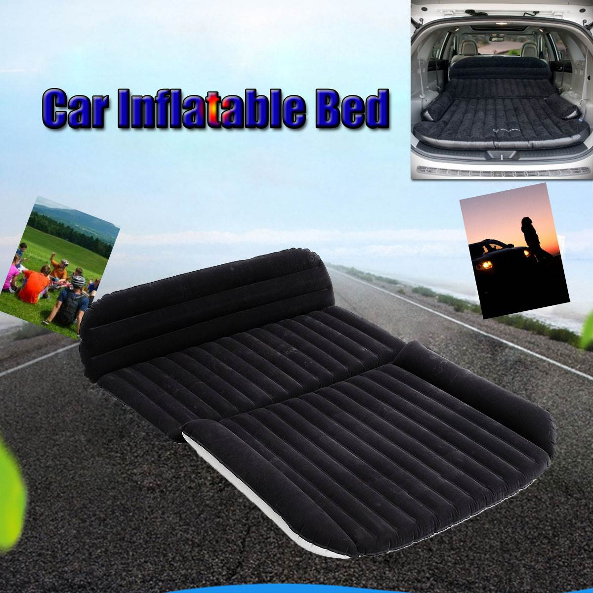 Universal Car Travel Inflatable Mattress Car Inflatable Bed Air Bed Cushion Outdoor Travel Beds Sofa with Inflatable Pump betos car air mattress travel bed auto back seat cover inflatable mattress air bed good quality inflatable car bed for camping