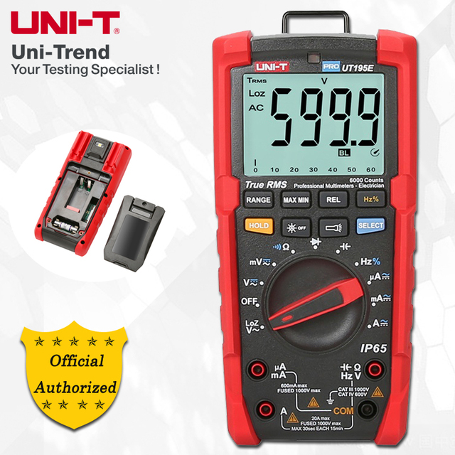 UNI-T UT195E/UT195M/UT195DS True RMS Professional Multimeters; IP65 Waterproof/Dustproof/Fall-proof Digital Multimeter, LoZ Test