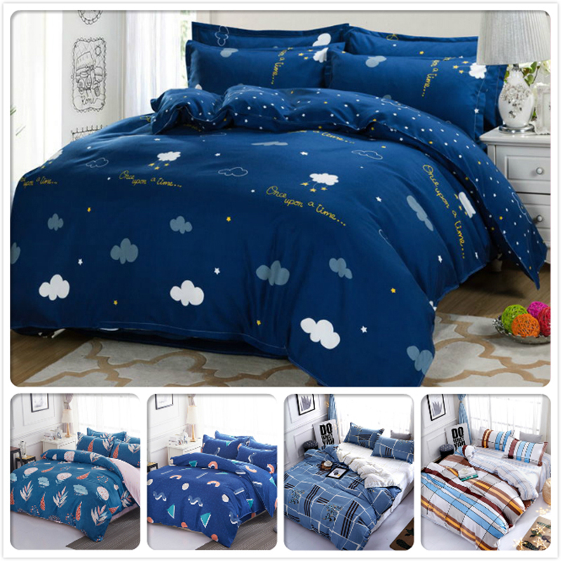 Bleu doux housse de couette drap taie d'oreiller 3/4 pcs ensemble de literie adulte enfants doux coton linge de lit simple Double reine roi taille