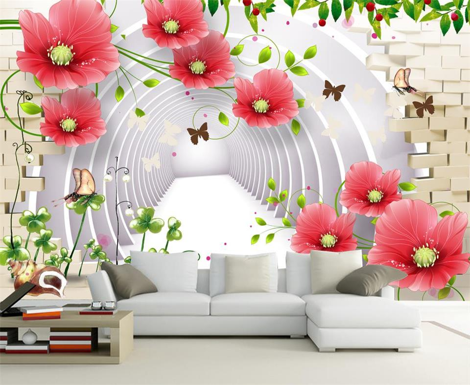 3d wallpaper custom photo wallpaper living room mural flower brick wall 3d painting sofa TV background wallpaper for walls 3d все цены