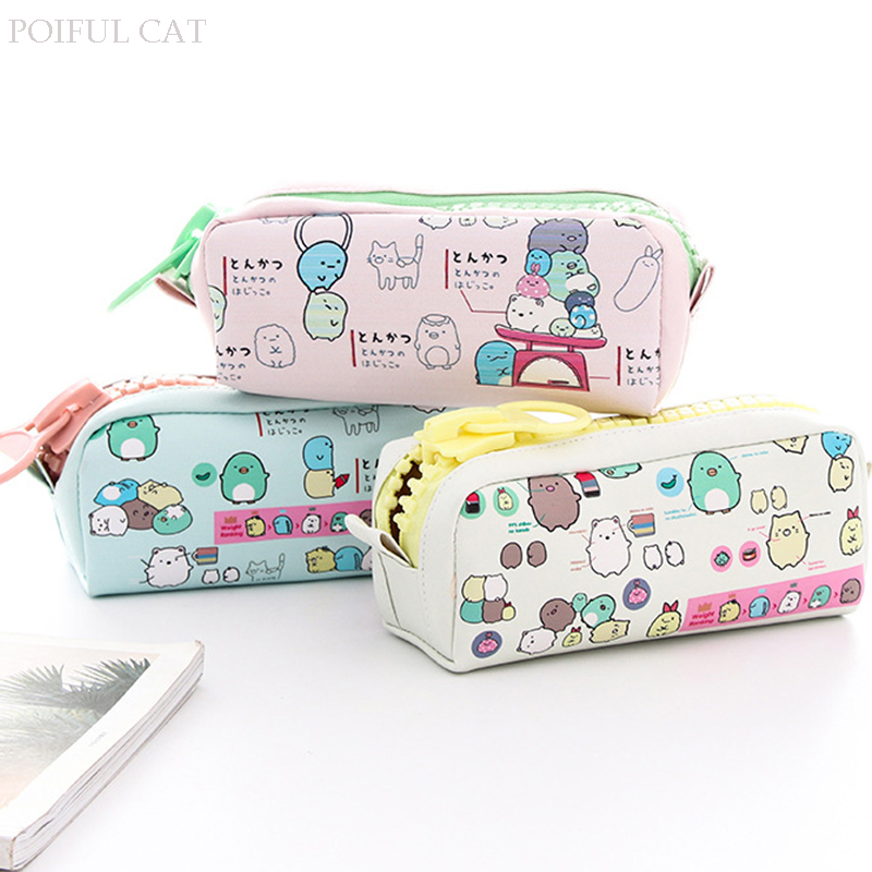 Cartoon Sumikko gurashi pencil case Big zipper PU leather pencil pouch Stationery Storage bag office school supplies Canetas