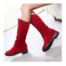 Winter Boots Faux Suede Boots Flat Hidden Wedge Boots Flat Nubuck Leather Mid-Calf Boots Factory Wholesale Made on Behalf