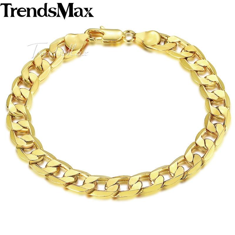 Trendsmax 8mm 18cm 20cm férfi karkötő nőknek Curb Kubai Link Chain arany töltött ékszerek GB09